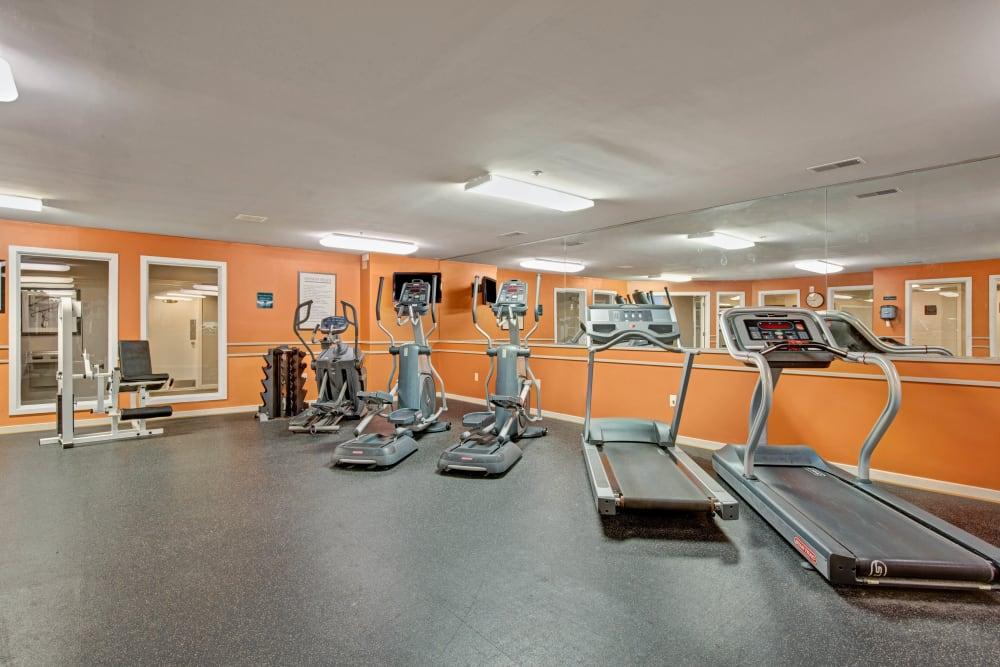 Well equipped fitness center at Sussex at Kingstowne in Alexandria, Virginia