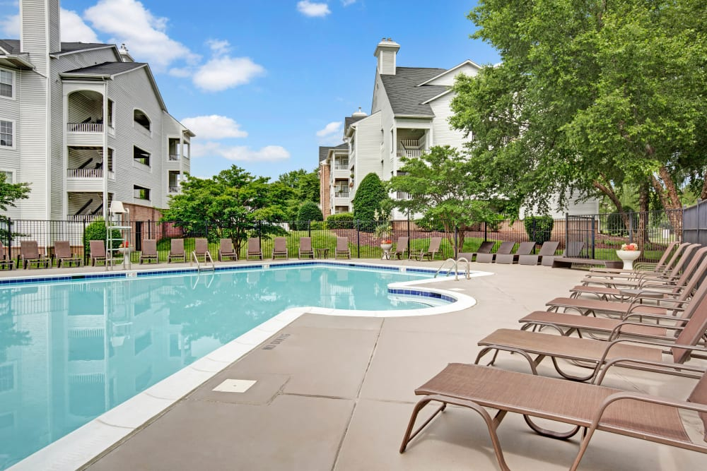 Lounge chairs poolside at Sussex at Kingstowne in Alexandria, Virginia