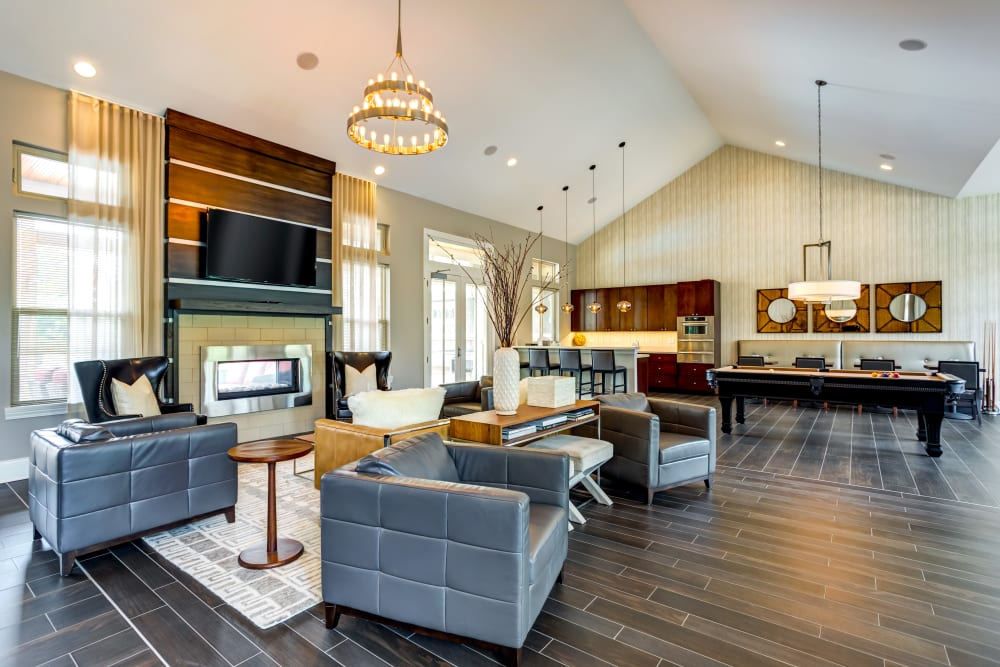 Beautiful clubhouse lounge at The Oaks Of Vernon Hills in Vernon Hills, IL