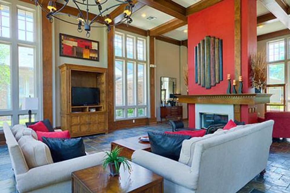 Interior of lobby with fireplace at Somerset at Spring Creek in Plano, Texas