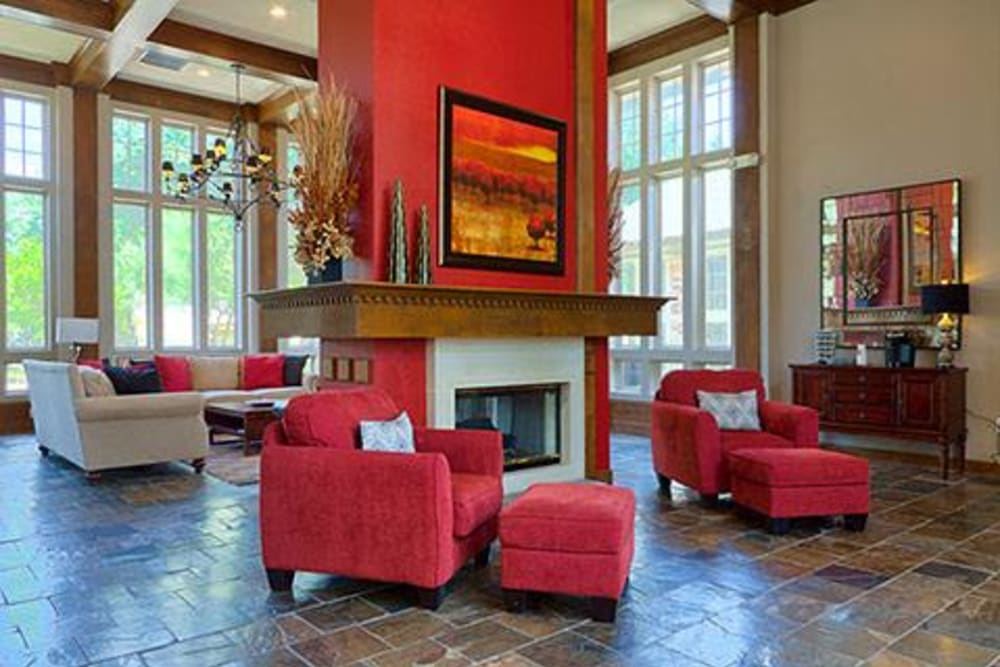 Modern decor in lobby with fireplace at Somerset at Spring Creek in Plano, Texas