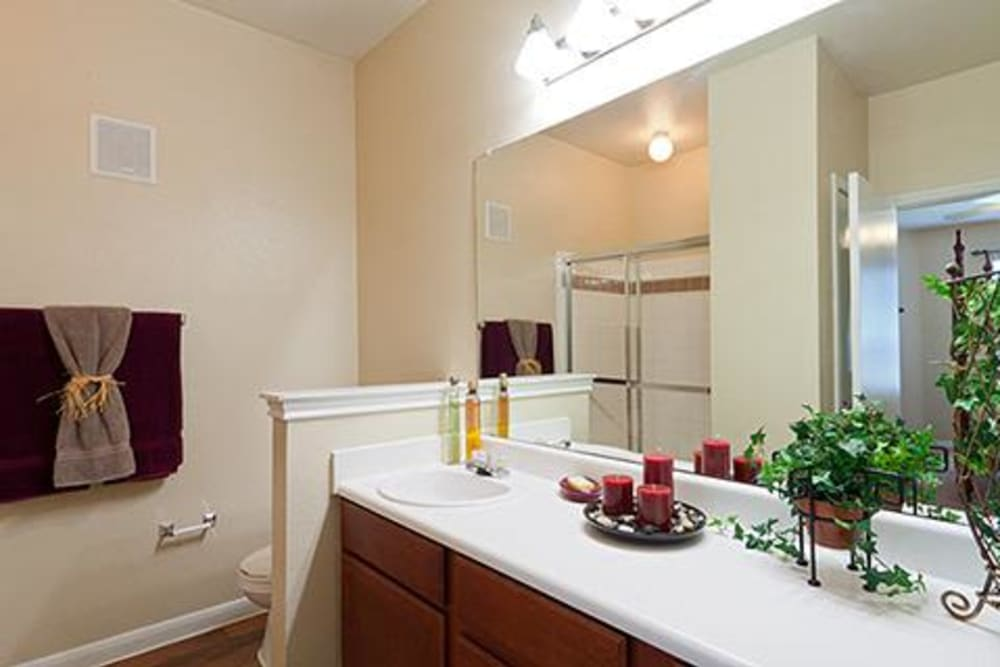 Model bathroom with large vanity mirror at Somerset at Spring Creek in Plano, Texas