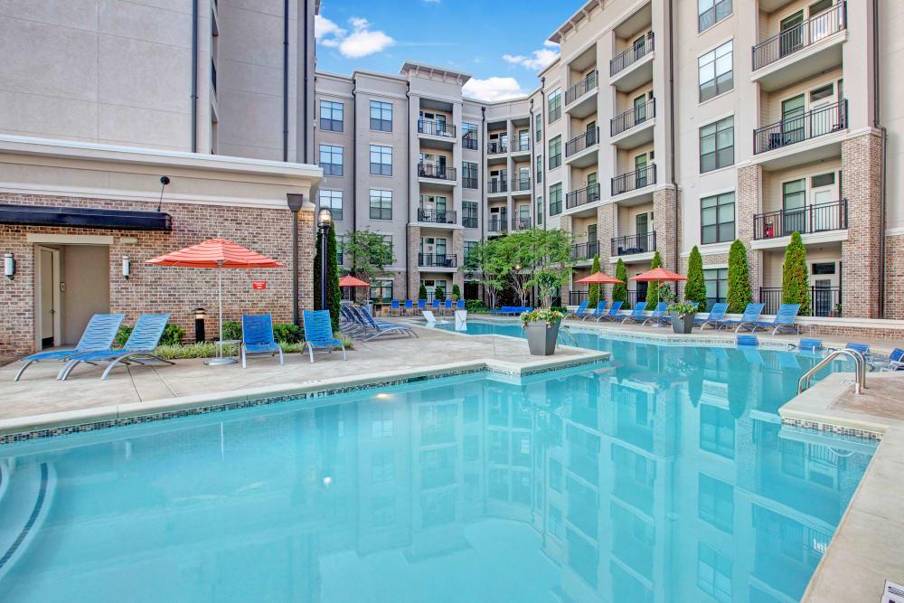 Blue gleaming pool at Mark at West Midtown in Atlanta, GA
