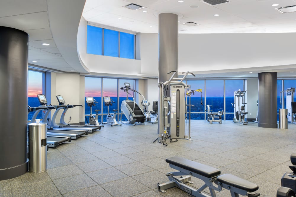 Well equipped fitness center at Skyline New Rochelle in New Rochelle, New York