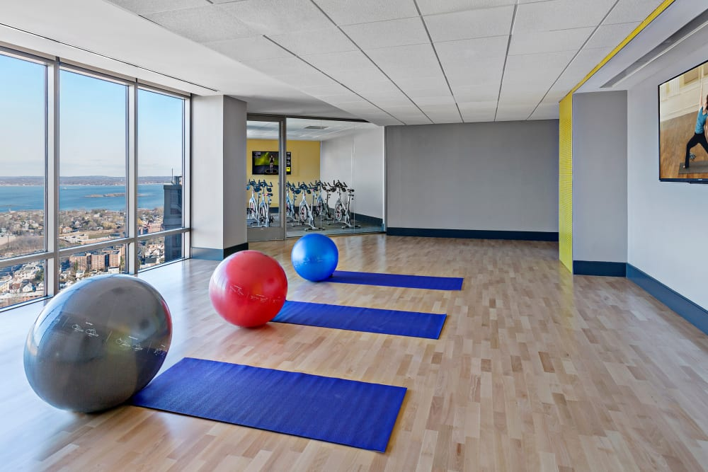 Exercise balls in fitness center at Skyline New Rochelle in New Rochelle, New York