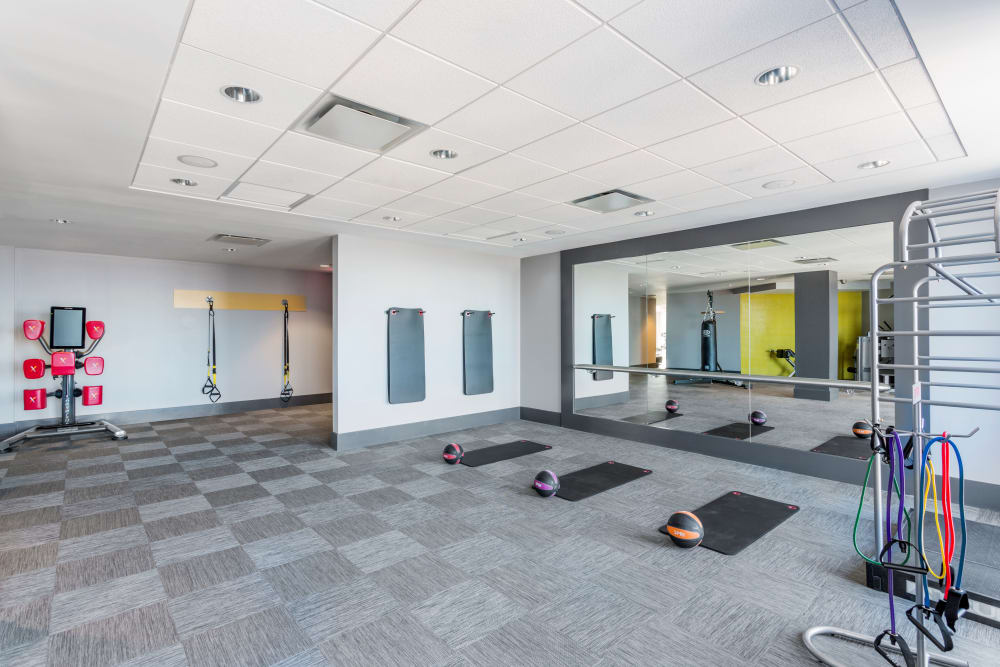 Yoga mats in fitness center at Skyline New Rochelle in New Rochelle, New York