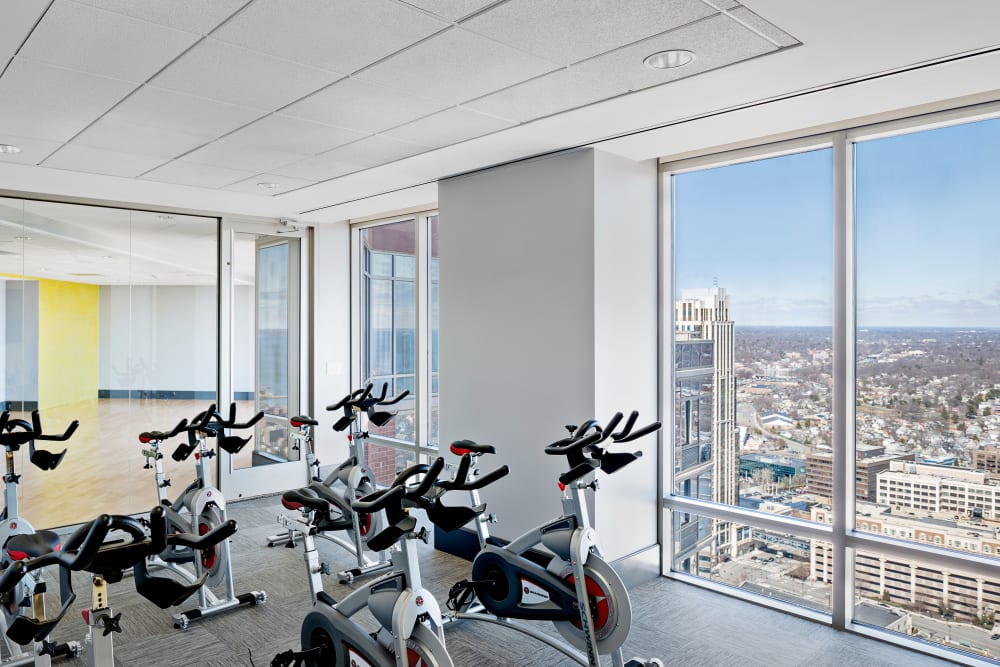 Cycling studio in fitness center at Skyline New Rochelle in New Rochelle, New York