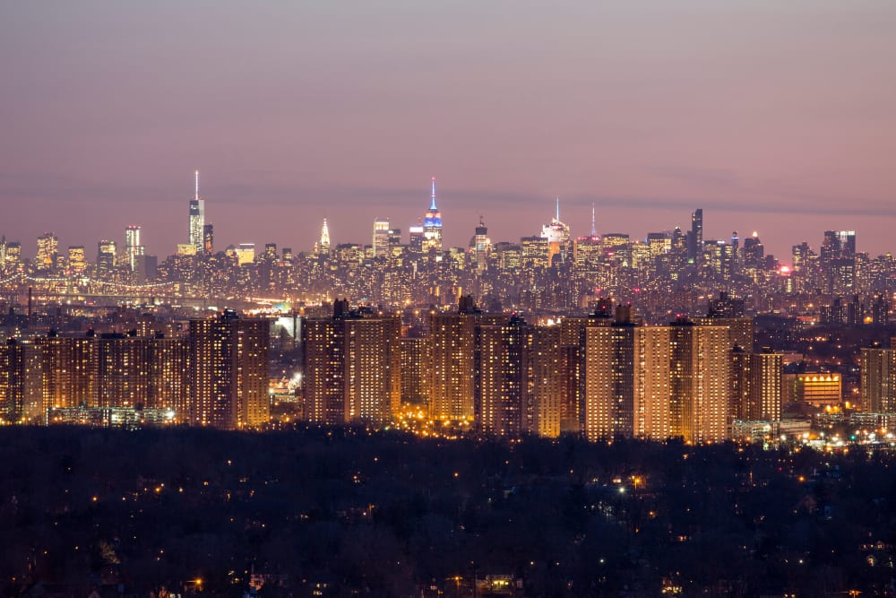 Night time city view near Skyline New Rochelle in New Rochelle, New York