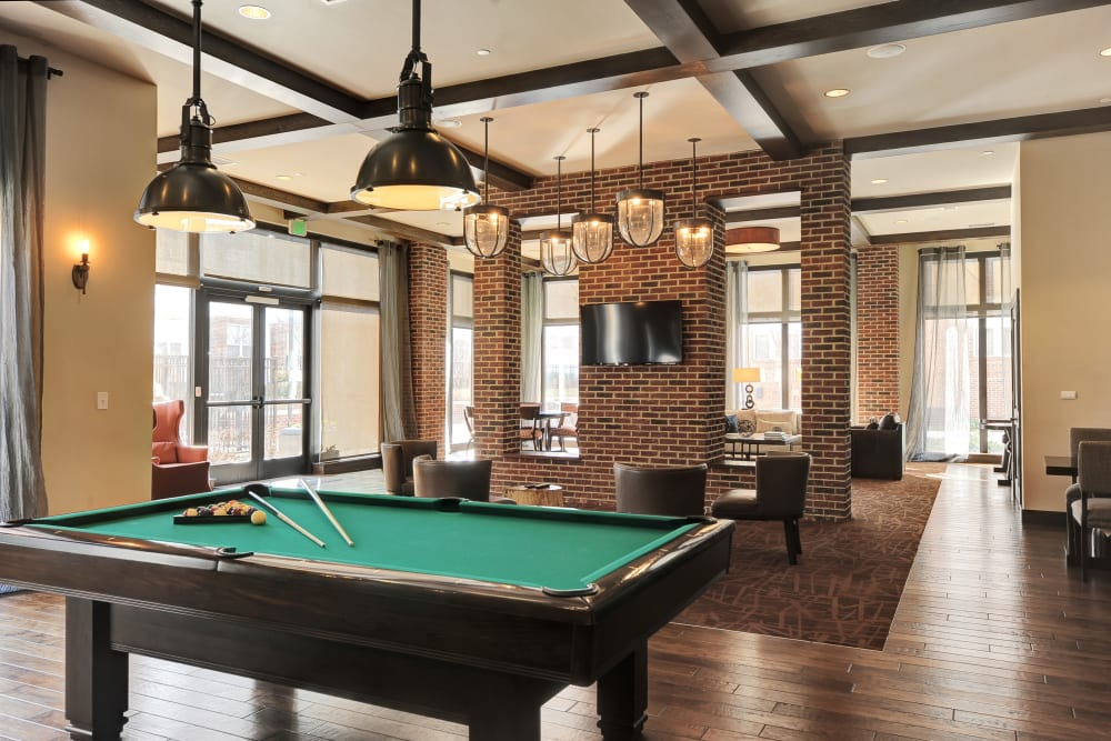 Pool table in the clubhouse at The Mark at Brickyard Apartment Homes in Beltsville, Maryland