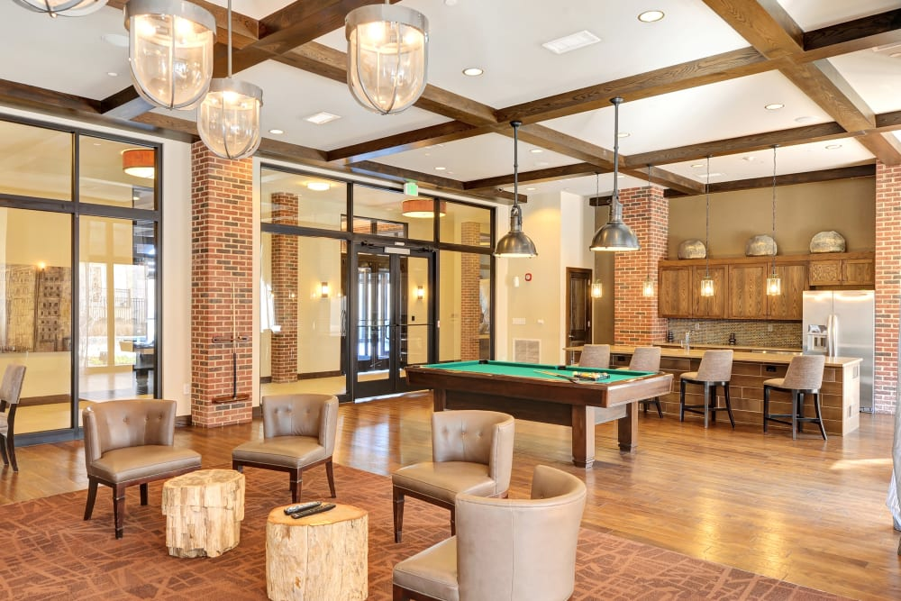 Impeccably decorated clubhouse for residents at The Mark at Brickyard Apartment Homes in Beltsville, Maryland
