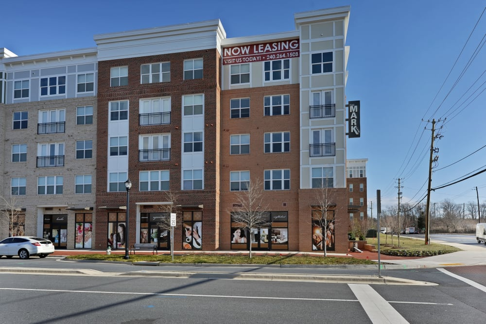 Street view of complex at The Mark at Brickyard Apartment Homes in Beltsville, Maryland