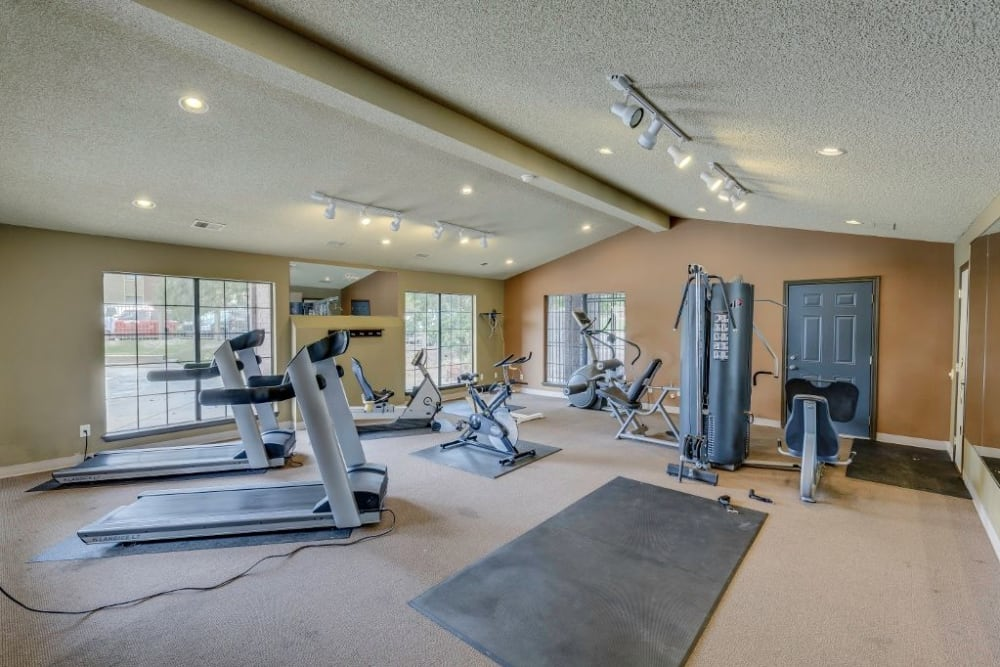 Well equipped fitness center at Skyline in Thornton, Colorado