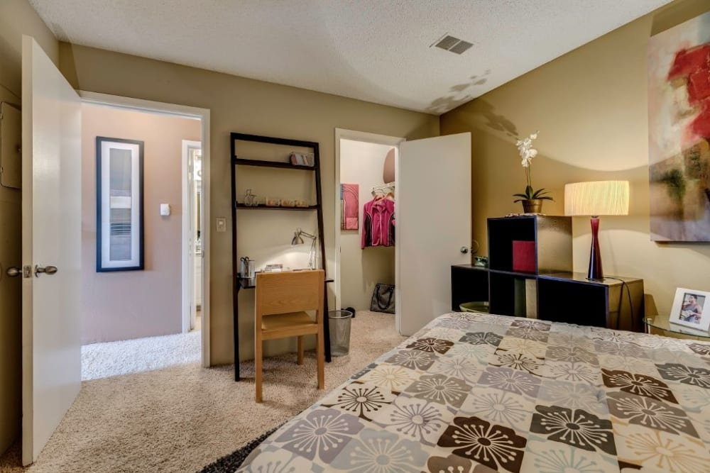 Well lit model bedroom at Skyline in Thornton, Colorado