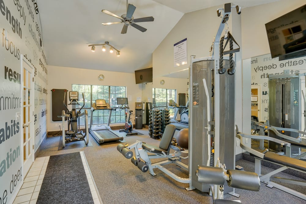 Fitness center at Shadow Creek Apartment Homes in Santa Rosa, California