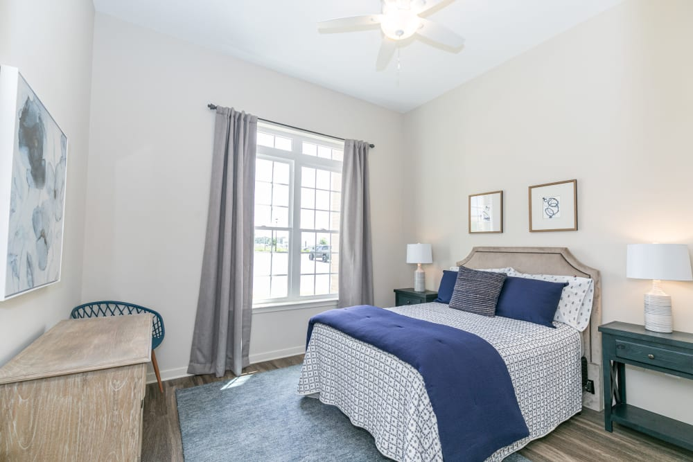 Cozy bedroom at The Station at River Crossing in Macon, Georgia