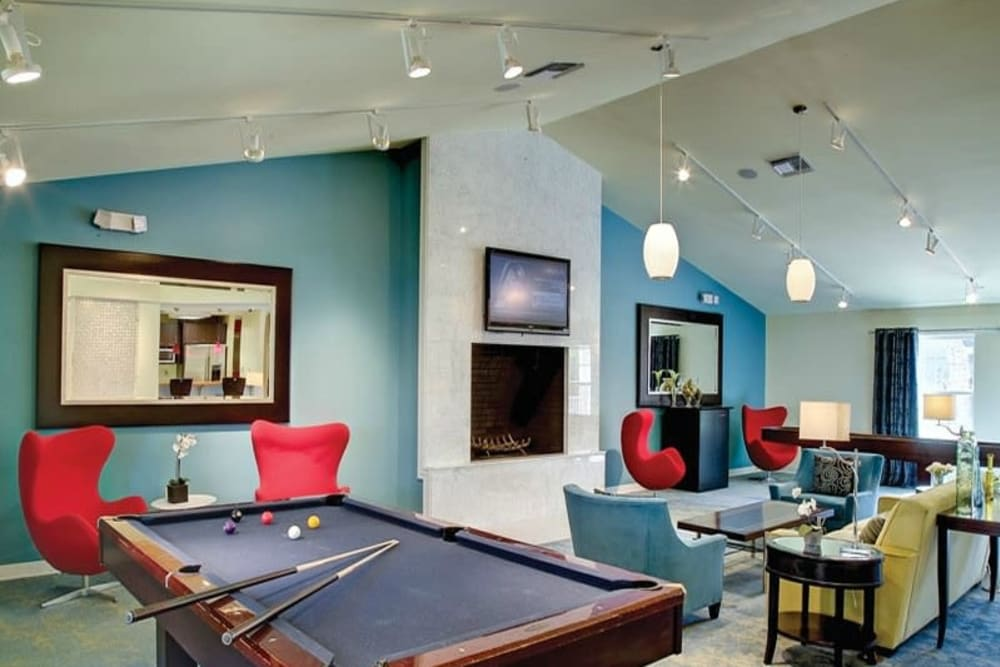 Pool table in clubhouse at Signal Pointe Apartment Homes in Winter Park, Florida