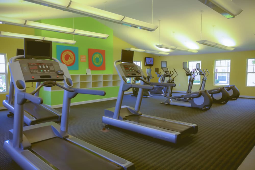 Treadmills in fitness center at Signal Pointe Apartment Homes in Winter Park, Florida