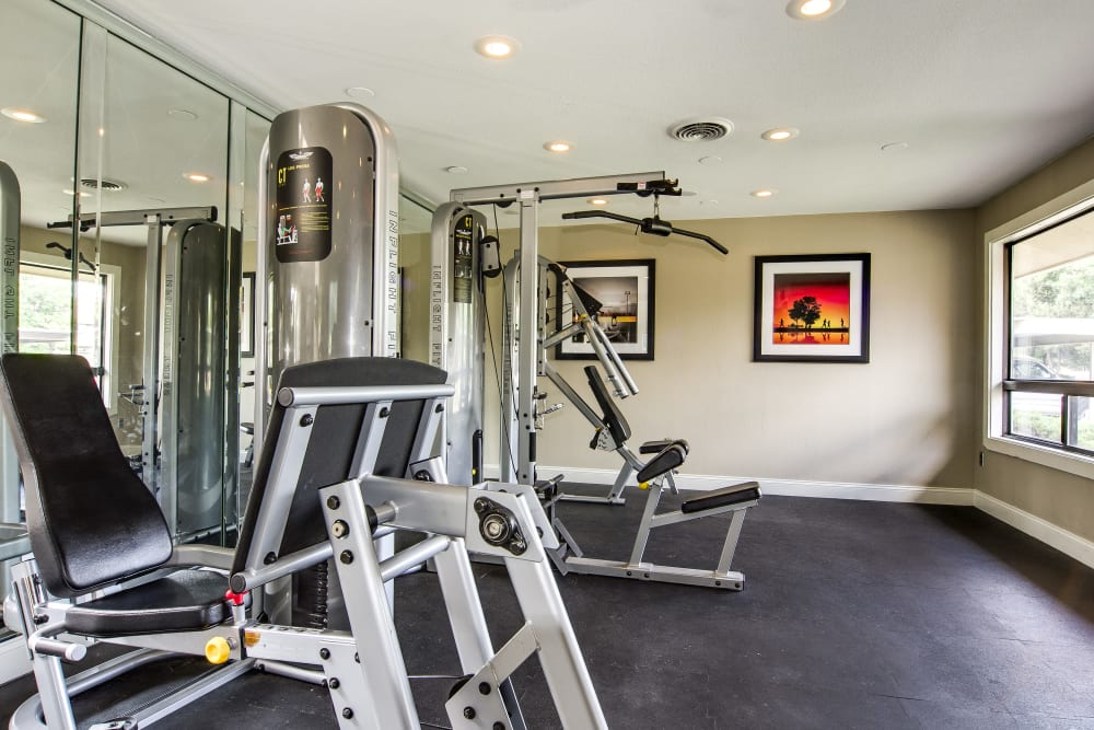 Well equipped fitness center at Santana Ridge in Denver, Colorado