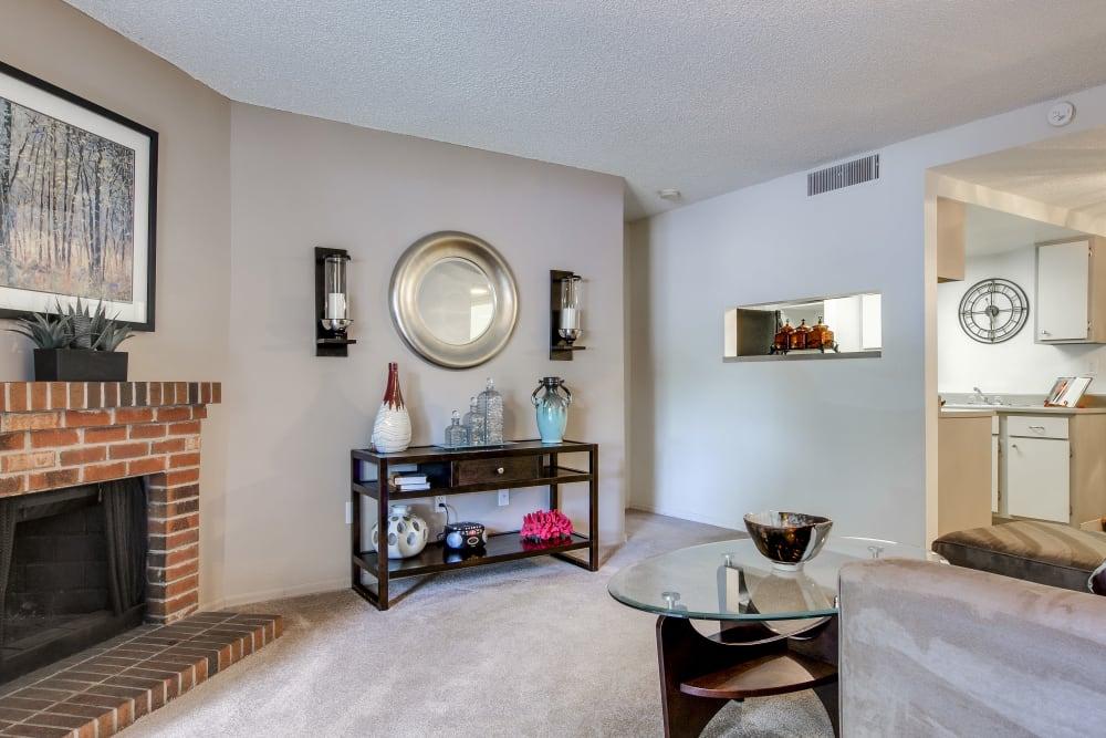 Living room with modern decor at Santana Ridge in Denver, Colorado