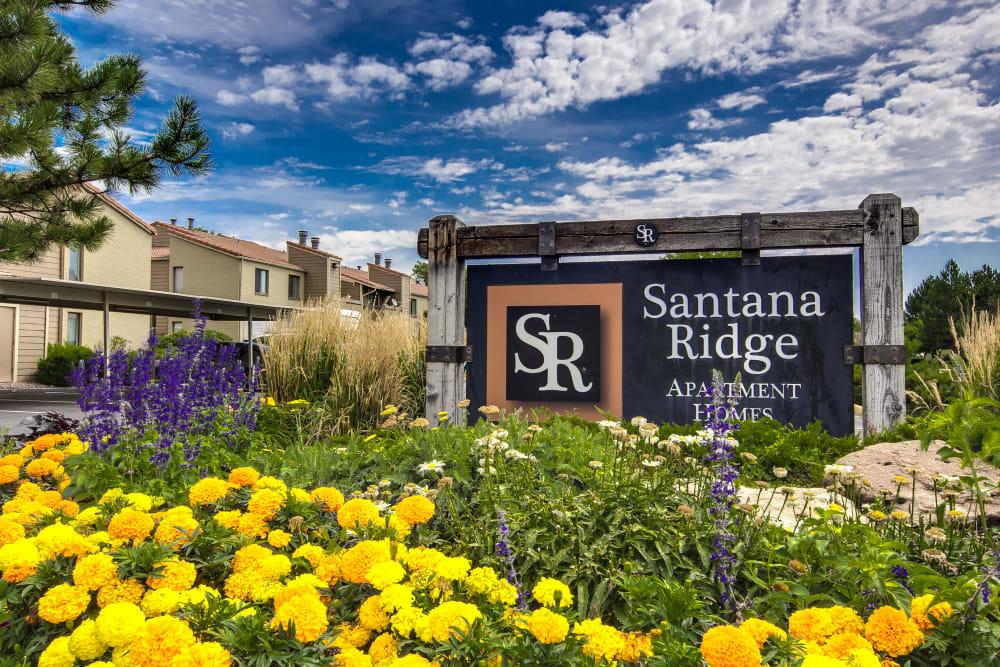 Front entrance sign for complex at Santana Ridge in Denver, Colorado