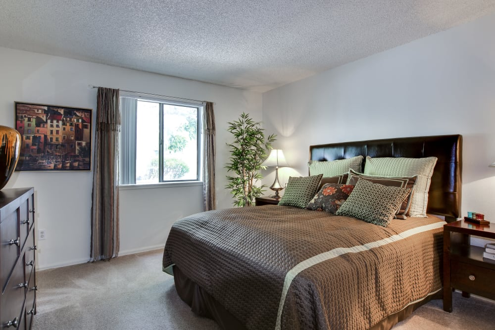 Well decorated model bedroom at Santana Ridge in Denver, Colorado