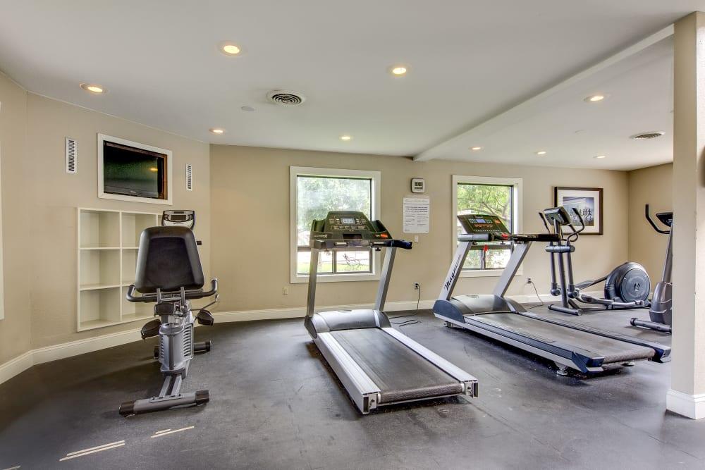 Treadmills in the fitness center at Santana Ridge in Denver, Colorado