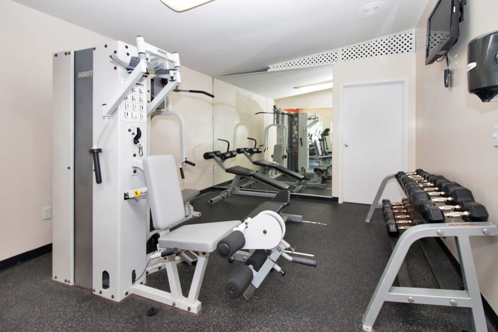 Well equipped fitness center at Runaway Bay Apartments in Virginia Beach, Virginia