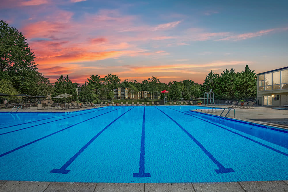 Community swimming pool at sunset at Cinnamon Run at Peppertree Farm in Silver Spring, Maryland