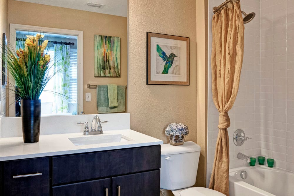 Bathroom with large vanity mirror features a shower bathtub in this apartment at City Center on 7th Apartment Homes in Pembroke Pines, Florida