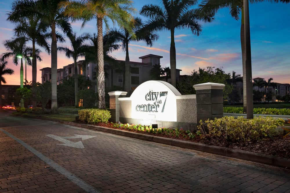 Community sign at City Center on 7th Apartment Homes in Pembroke Pines, Florida