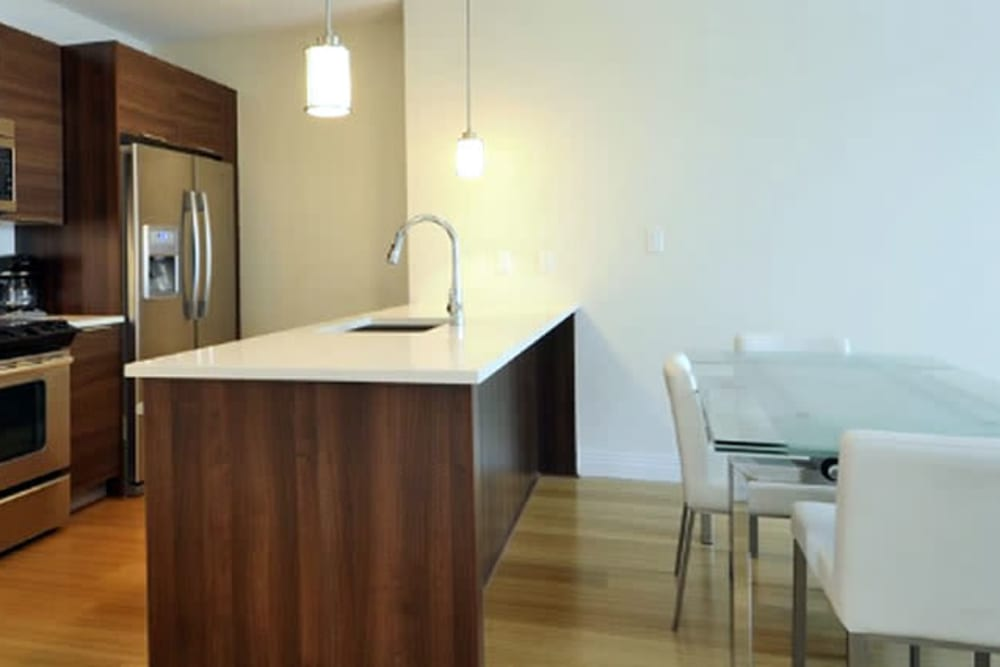 Bright kitchen at Monarch at Ridge Hill in Yonkers, New York