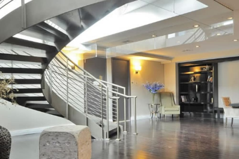 Staircase in foyer at Monarch at Ridge Hill in Yonkers, New York