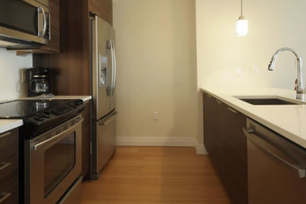 Model kitchen at Monarch at Ridge Hill in Yonkers, New York