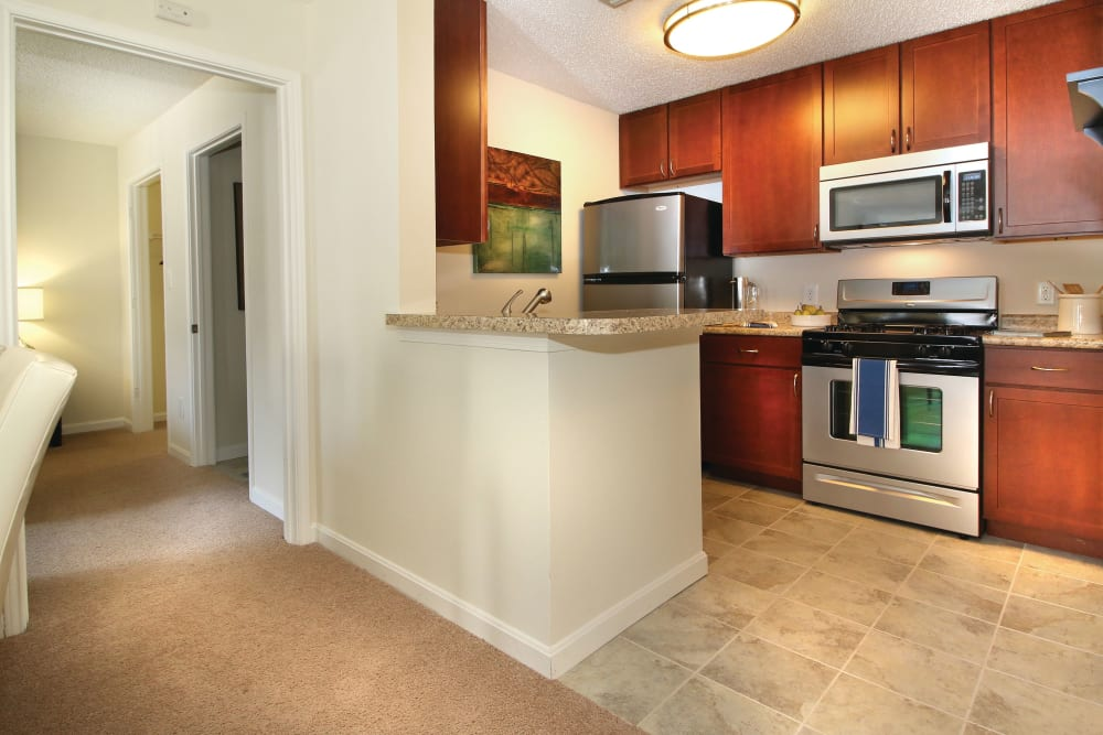 Kitchen with ample countertop space and cabinet storage at The Commons At Haynes Farm in Shrewsbury, Massachusetts