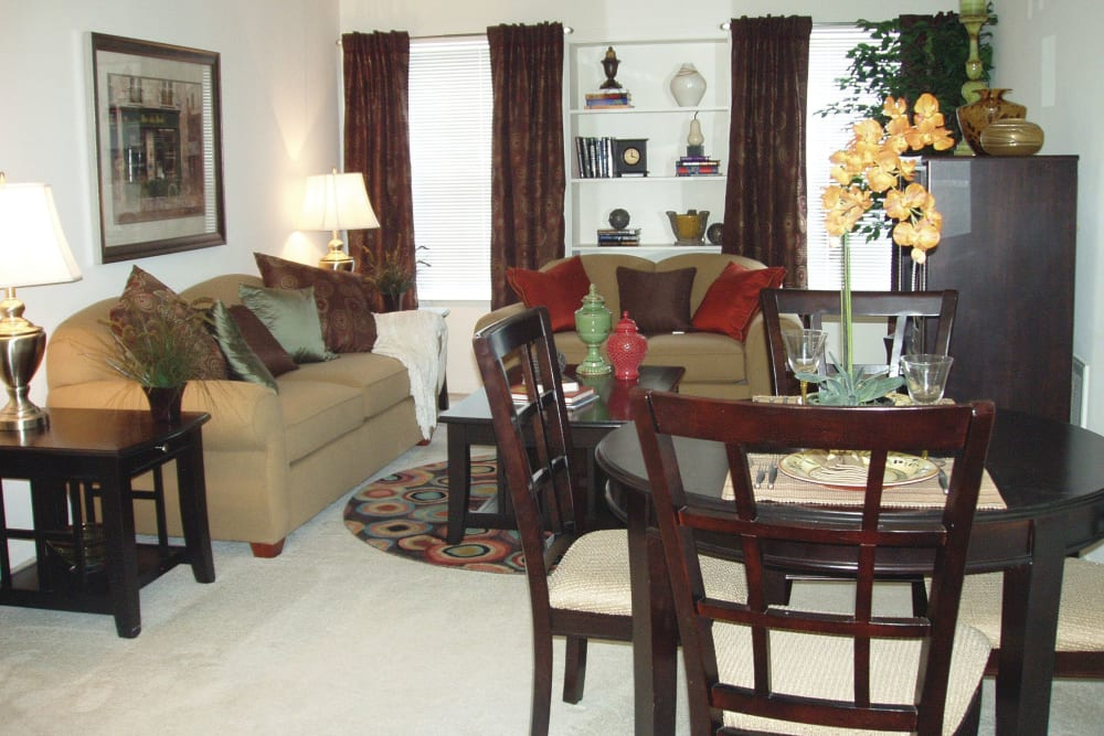 Our Luxury Apartments in Shrewsbury, Massachusetts showcase a Living Room with carpet