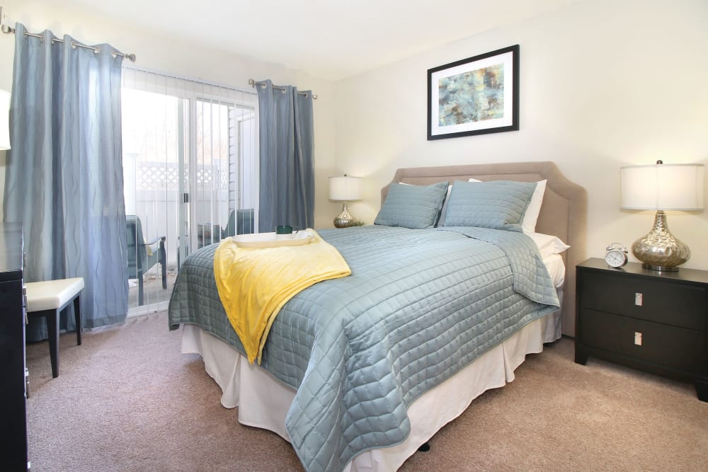 Spacious bedroom in an apartment at The Commons At Haynes Farm in Shrewsbury, Massachusetts