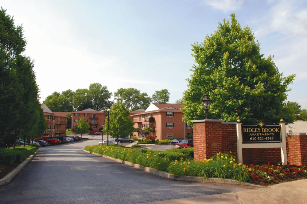 Entrance to Ridley Brook Apartments in Folsom, Pennsylvania