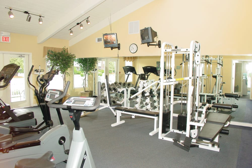 Well equipped fitness center at Stone Ends in Stoughton, Massachusetts