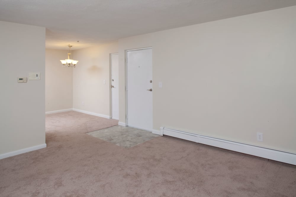 Living room at Stone Ends in Stoughton, Massachusetts