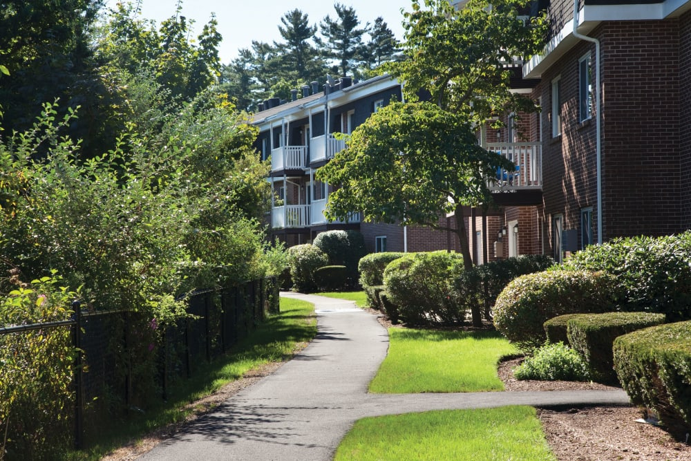 Walkways surrounding units at Stone Ends in Stoughton, Massachusetts