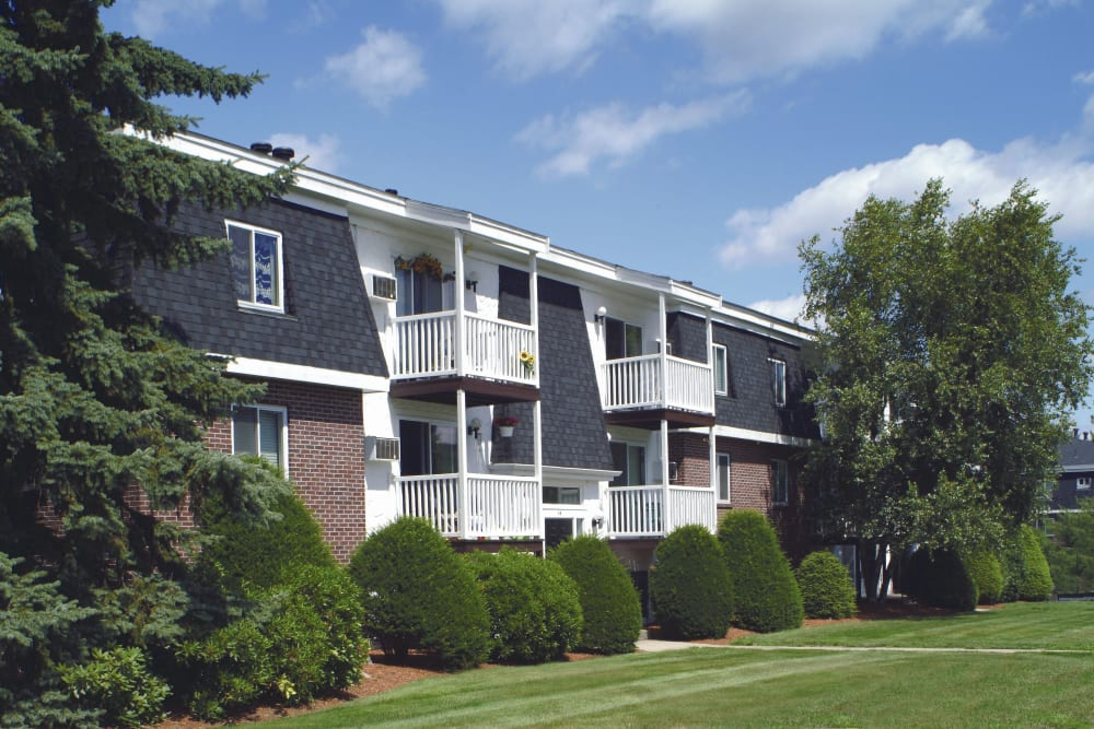 View of unit balconies at Stone Ends in Stoughton, Massachusetts