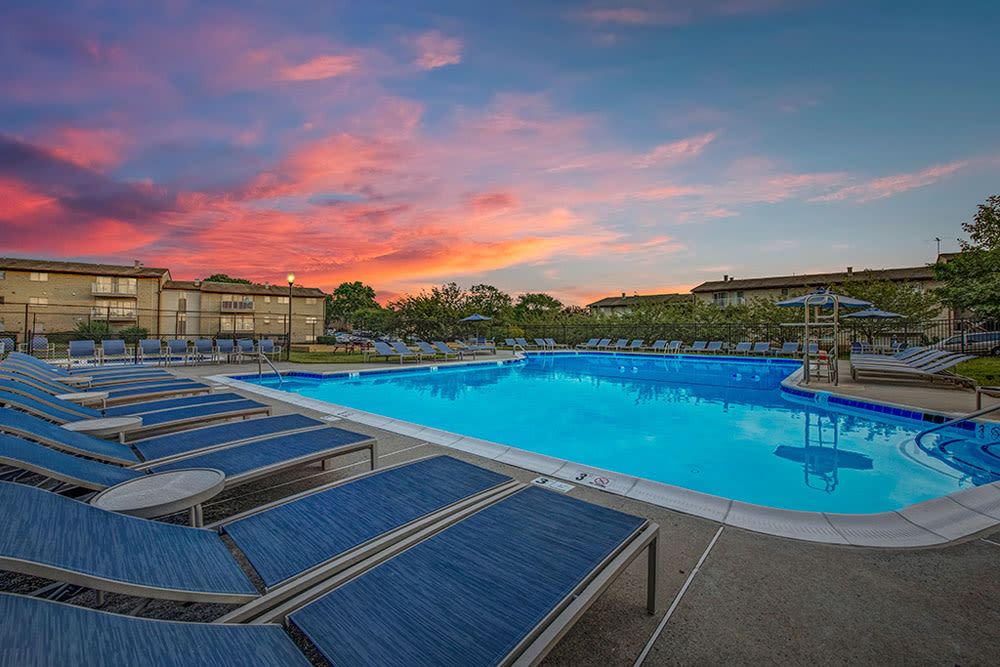 Sunset over the community Swimming Pool at Country Village Apartments in Bel Air, Maryland