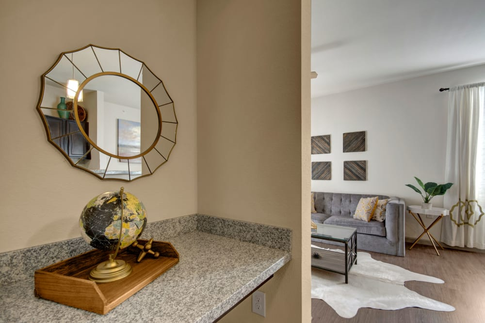 Well decorated living room interior at Creekside South in Wylie, Texas