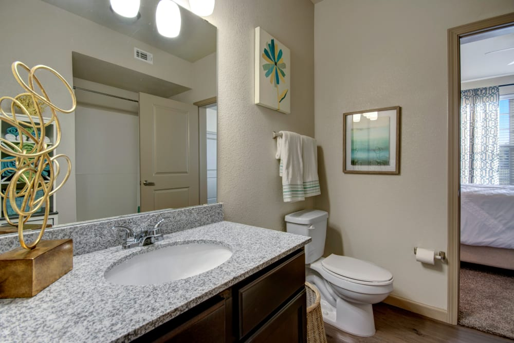 Bathroom featuring large vanity mirror in an apartment at Creekside South in Wylie, Texas