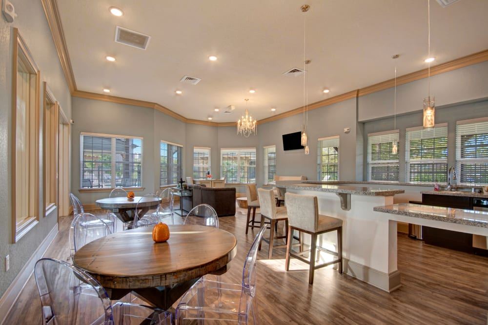 Well decorated clubhouse interior at Creekside South in Wylie, Texas