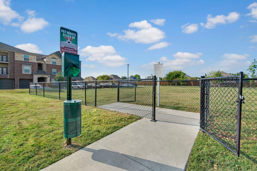 On site dog Park at Creekside South in Wylie, Texas