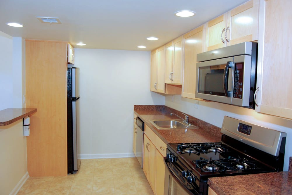 Modern kitchen with stainless steel appliances and granite countertops at Racquet Club Apartments and Townhomes in Levittown, Pennsylvania