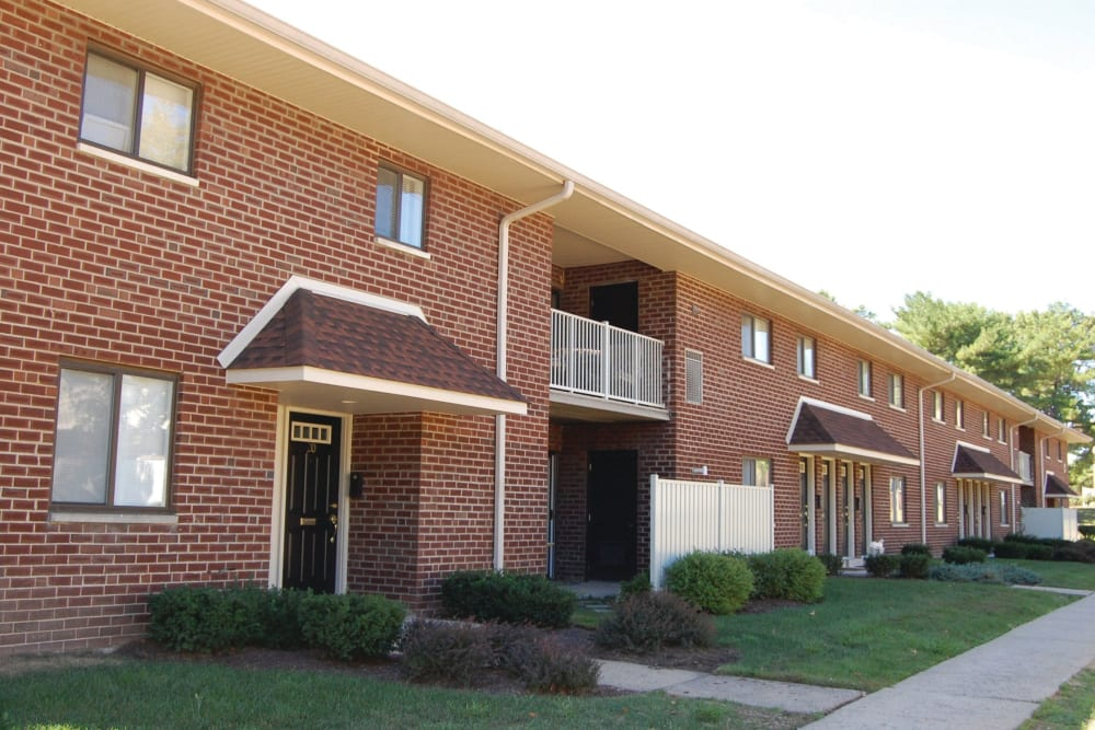 Exterior view of south complex at Racquet Club Apartments and Townhomes in Levittown, Pennsylvania