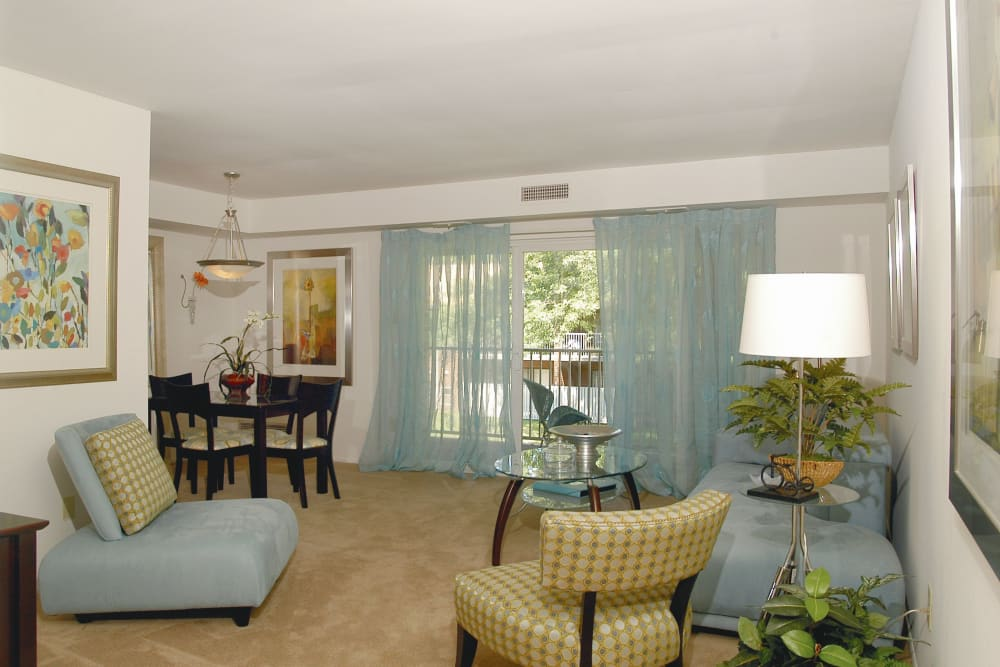 Living room at Racquet Club Apartments and Townhomes in Levittown, Pennsylvania