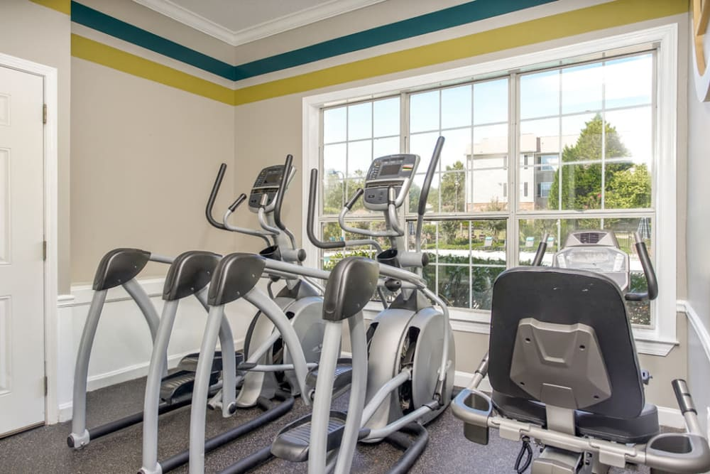 Variety of exercise equipment in the fitness room at Eastwood Village in Stockbridge, Georgia